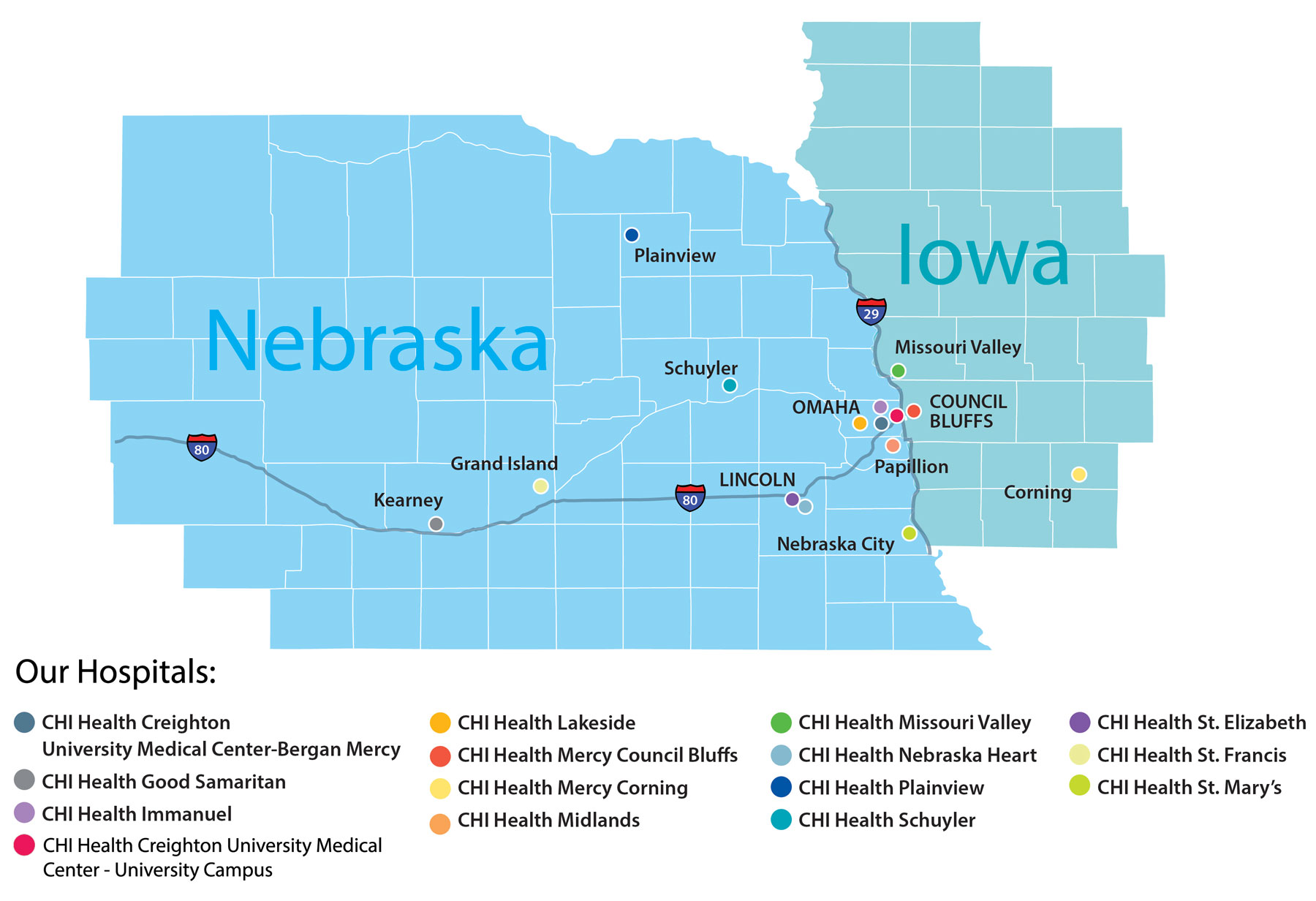 Map of CHI Health Hospitals across the state